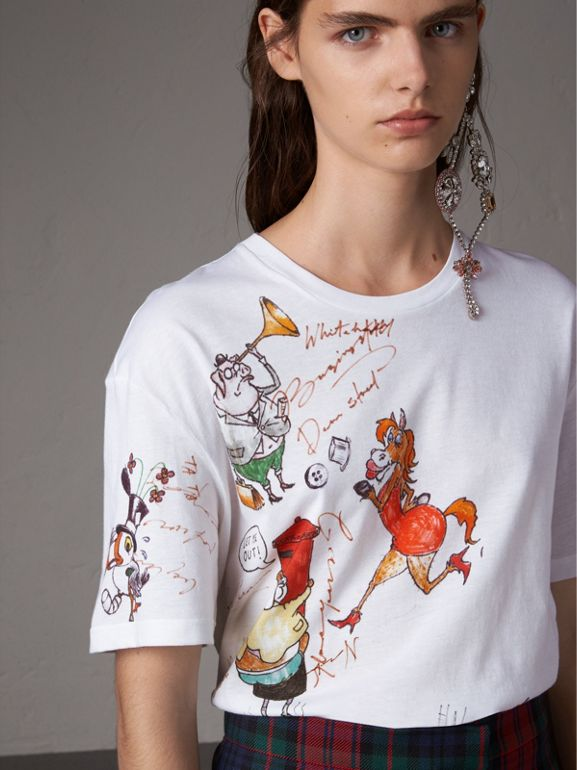 Sketch Print Cotton T-shirt in White - Women | Burberry - cell image 1