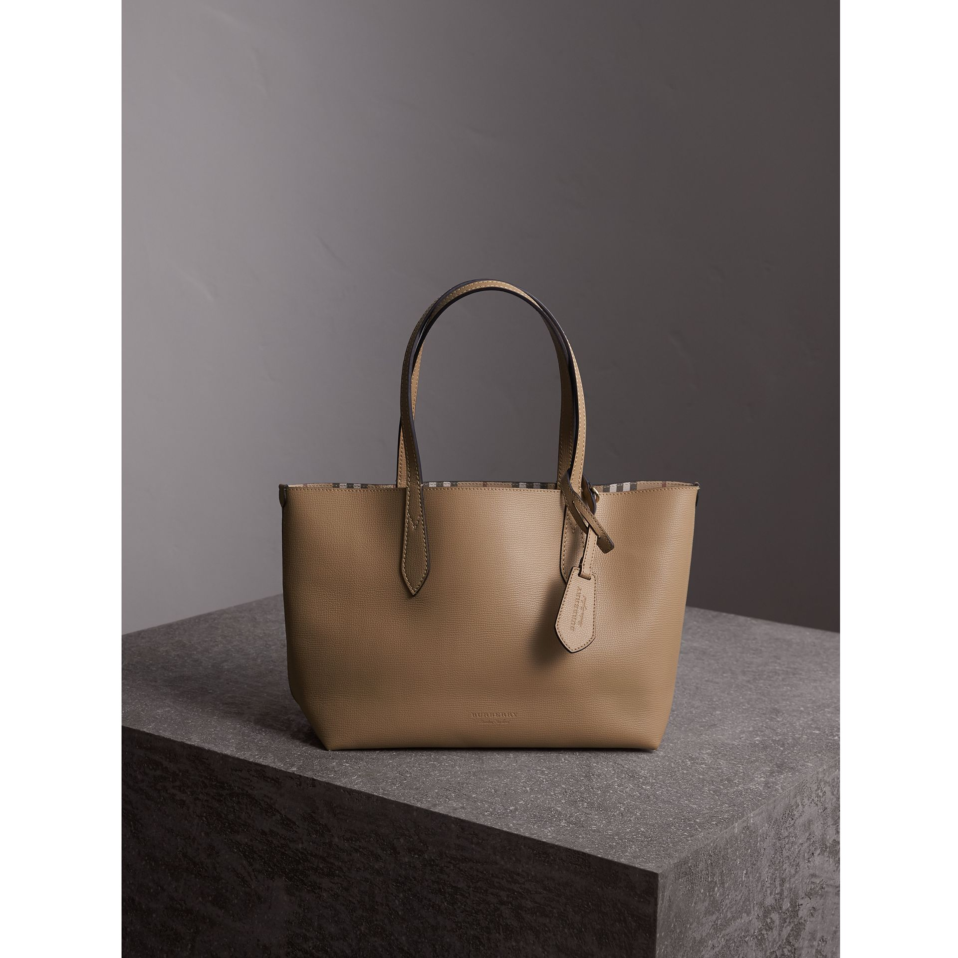 The Small Reversible Tote in Haymarket Check and Leather in Mid Camel - Women | Burberry - gallery image 1
