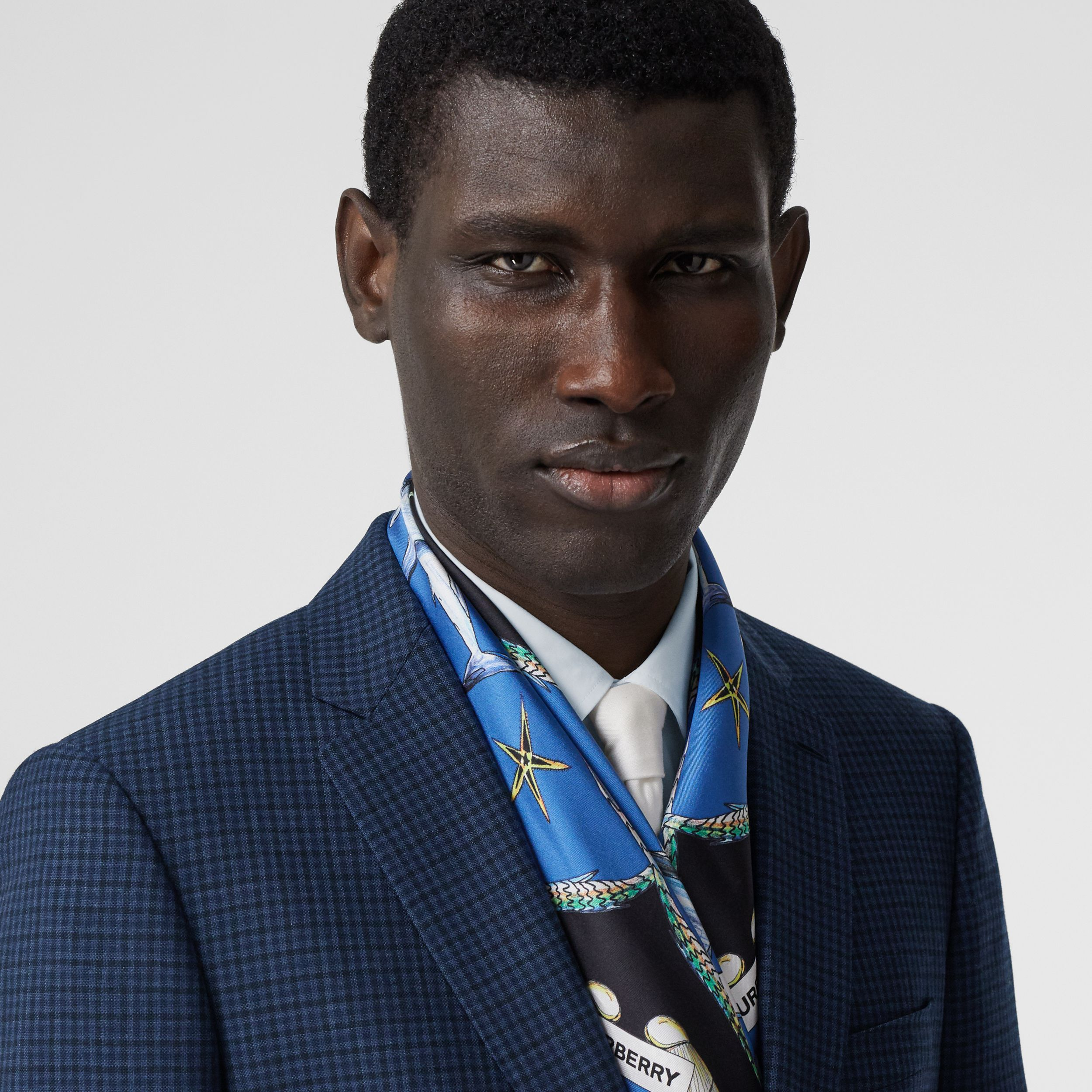 Marine Sketch Print Silk Square Scarf in Azure Blue | Burberry - 4