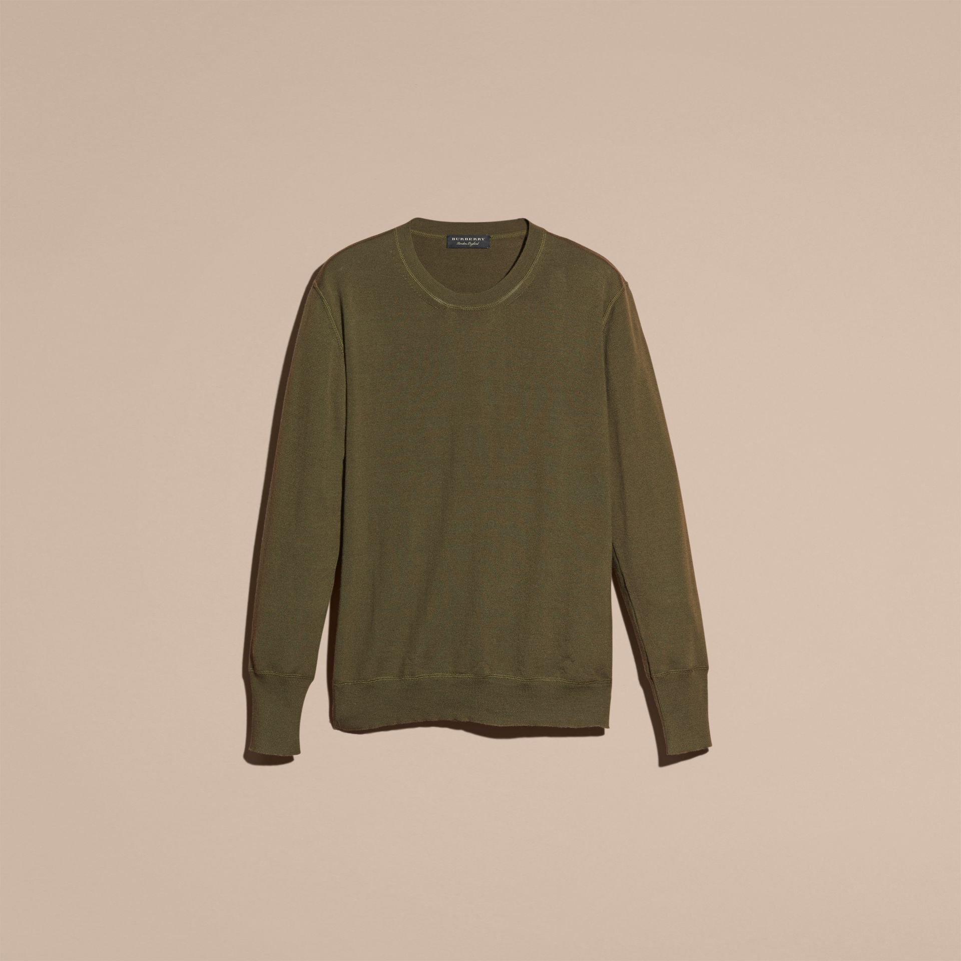 Crew Neck Cashmere Sweater in Military Olive - gallery image 4