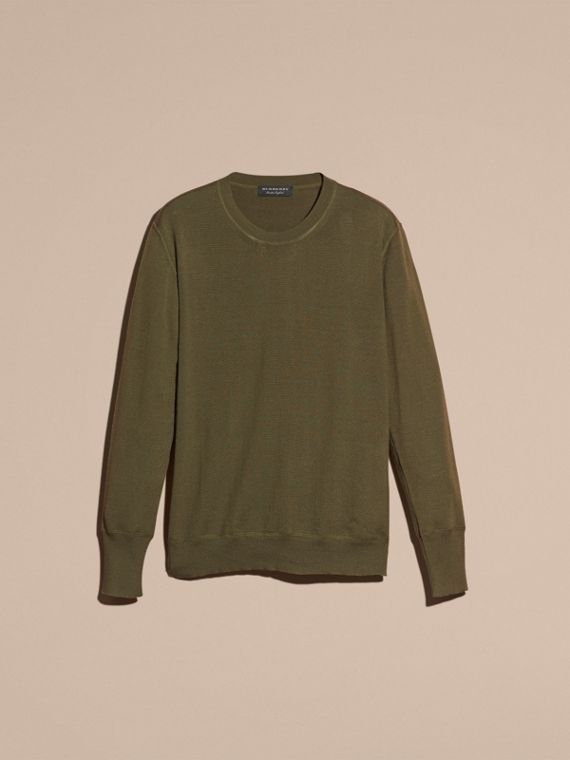 Crew Neck Cashmere Sweater in Military Olive - cell image 3