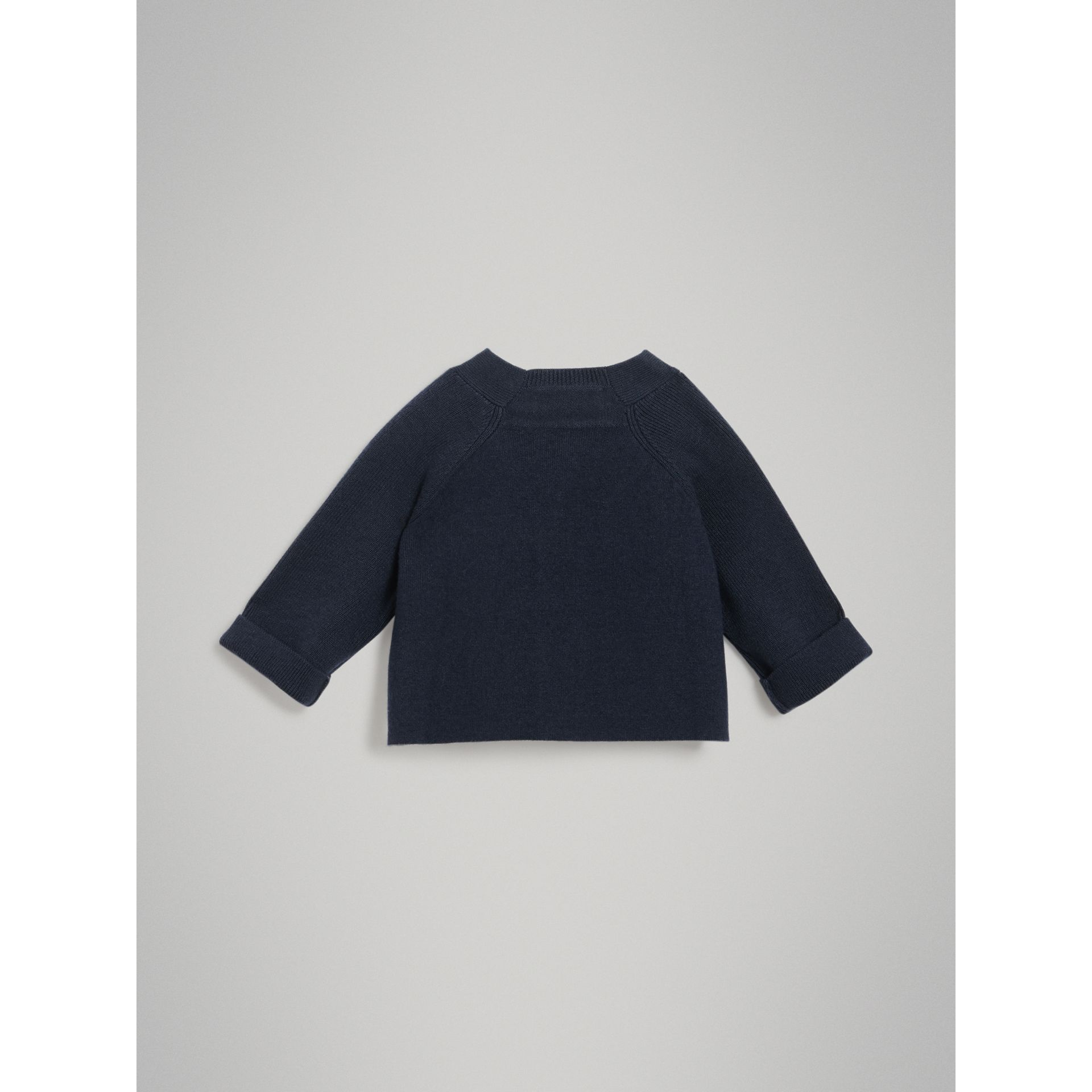 Cashmere Cotton Knit Cardigan in Navy - Children | Burberry Australia - gallery image 3