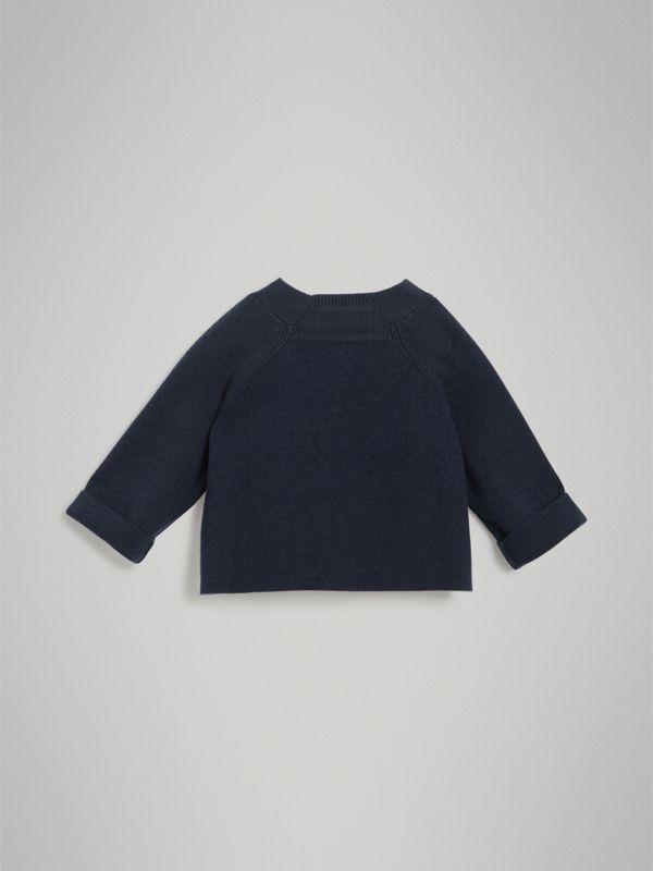 Cashmere Cotton Knit Cardigan in Navy - Children | Burberry - cell image 3