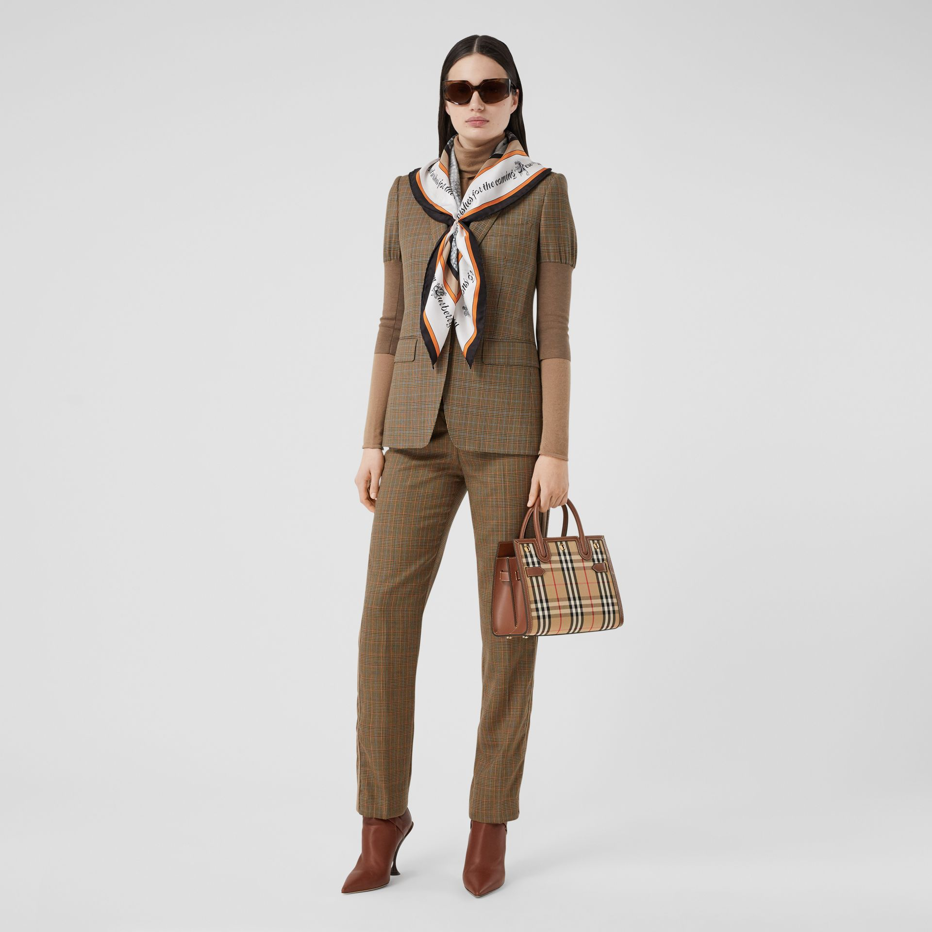 Mini Vintage Check Two-handle Title Bag in Archive Beige - Women | Burberry - gallery image 5