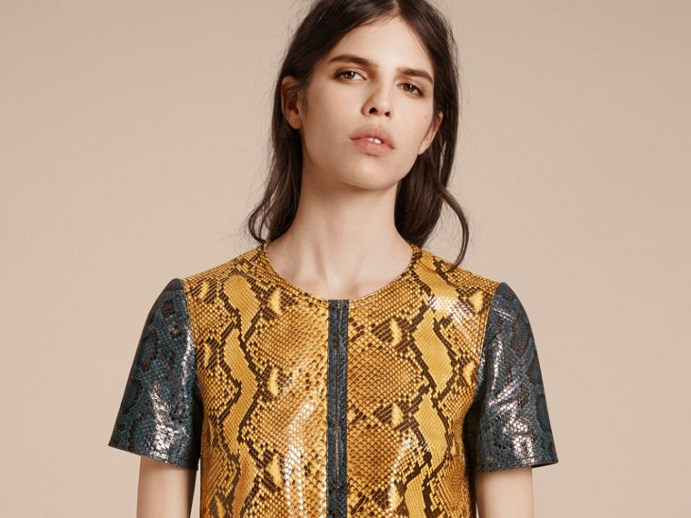 Amber yellow Patchwork Python T-shirt Dress - cell image 4