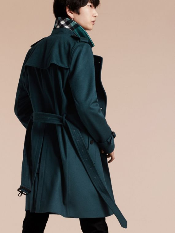 Blu minerale scuro Trench coat in cashmere Blu Minerale Scuro - cell image 2