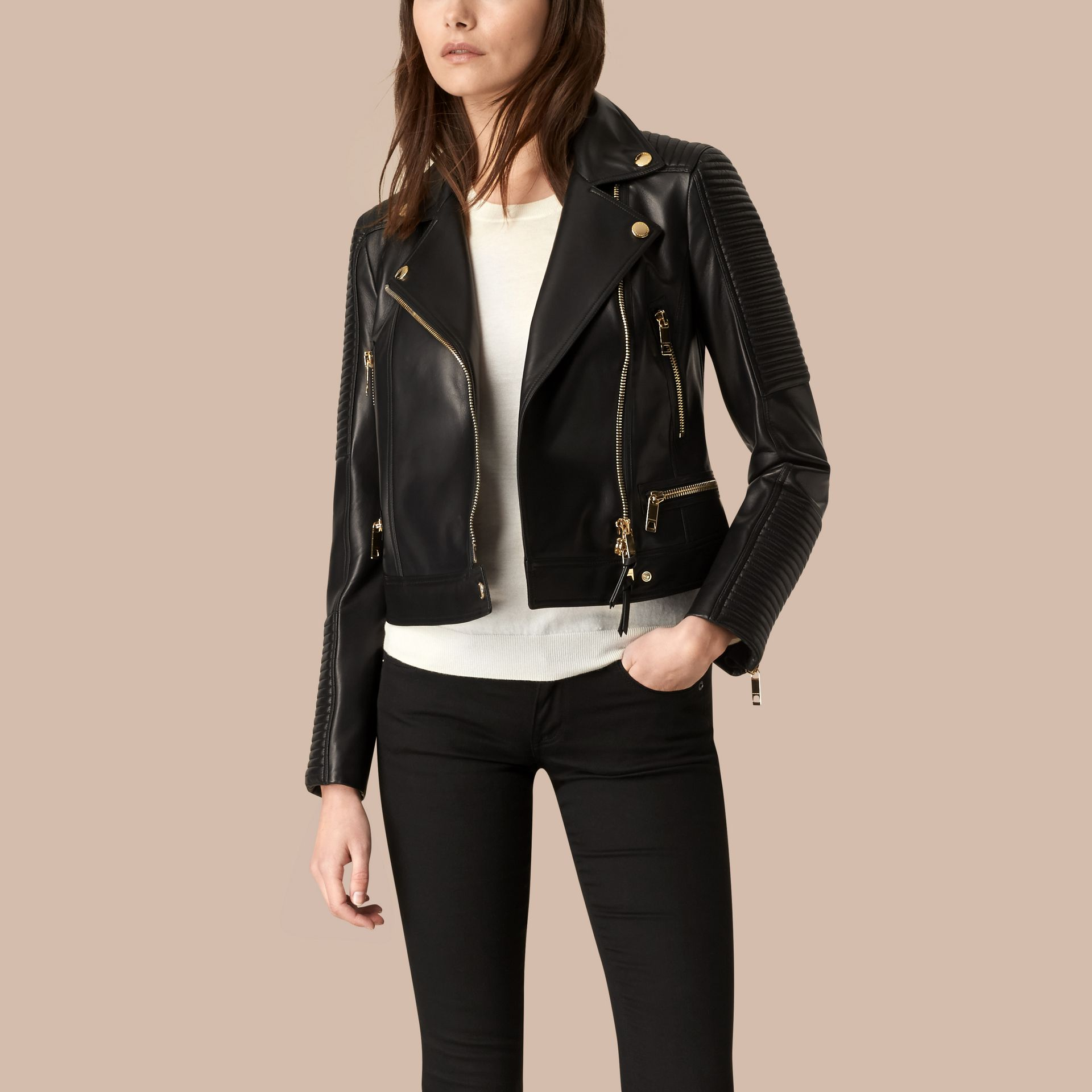 Black Quilted Detail Lambskin Biker Jacket - gallery image 1