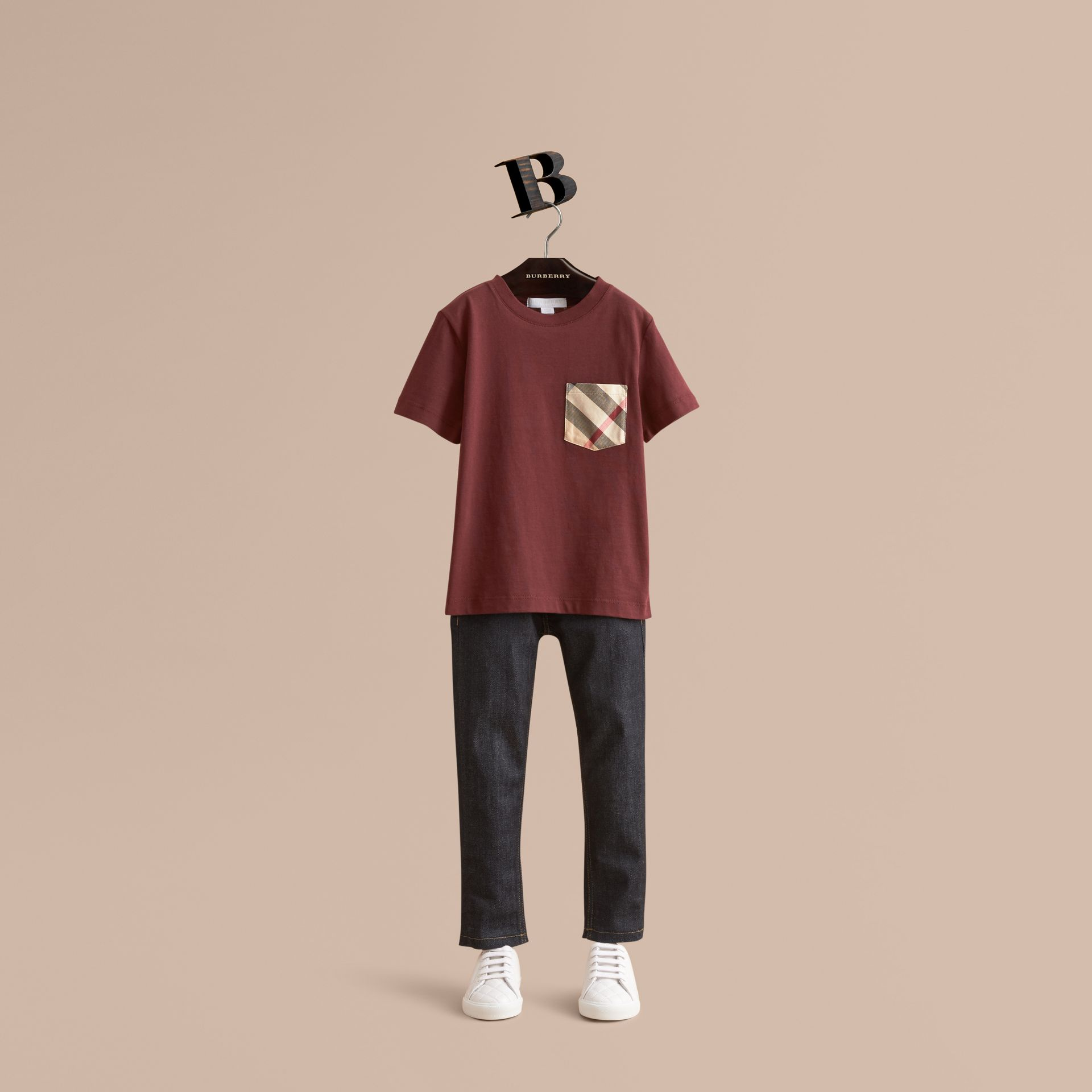 Check Pocket Cotton T-shirt in Oxblood - Boy | Burberry - gallery image 1