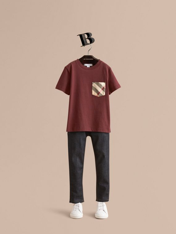Check Pocket Cotton T-shirt in Oxblood