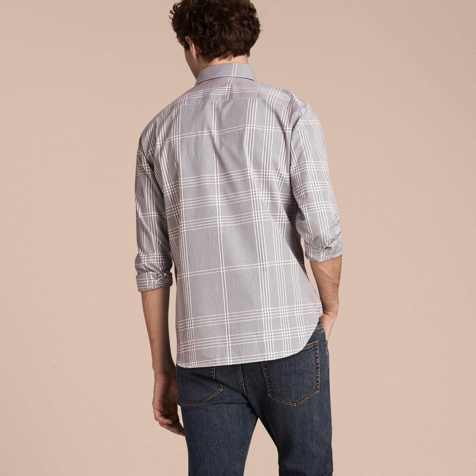 Azul marino intenso Camisa en algodón con estampado de checks Azul Marino Intenso - imagen de la galería 3