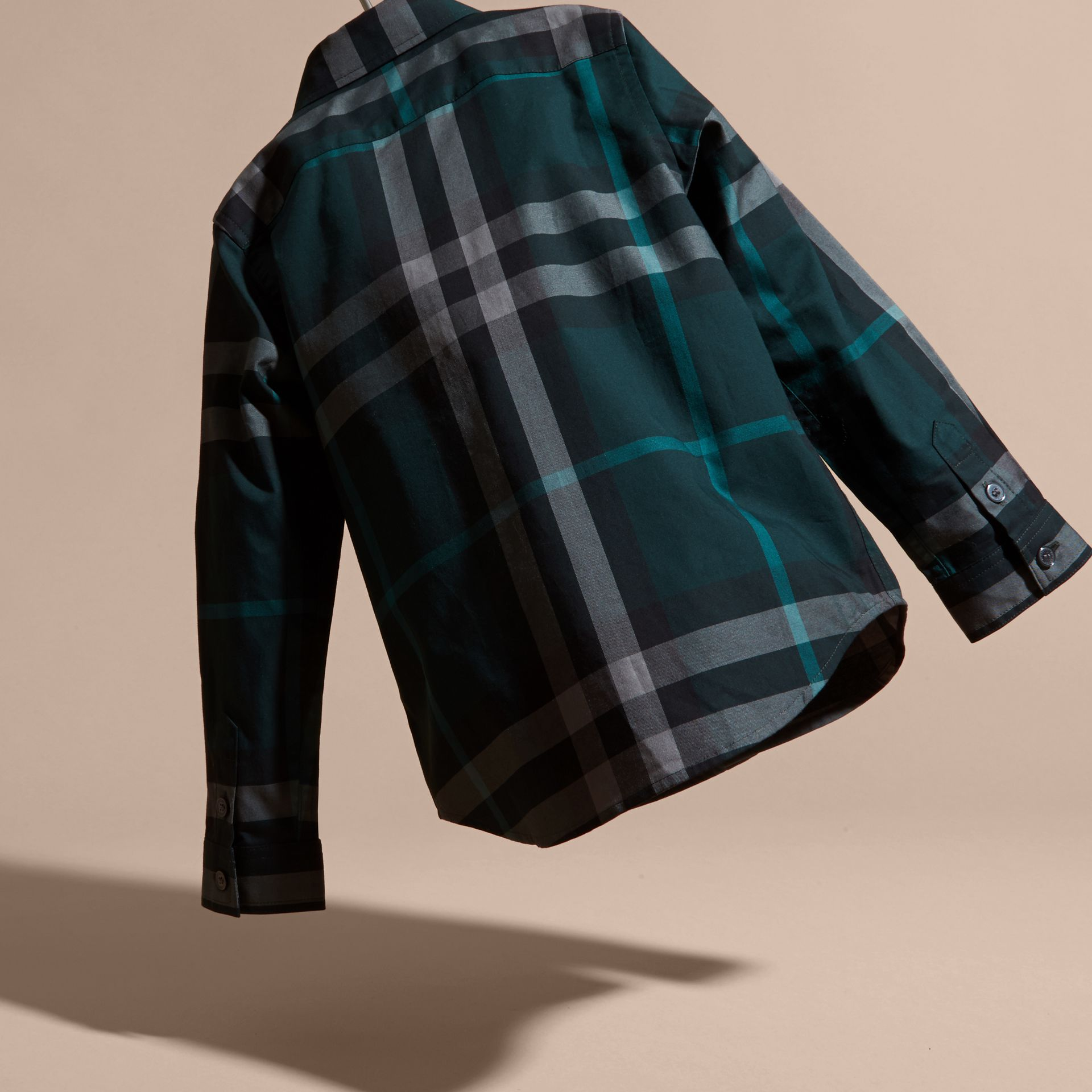 Racing green Check Cotton Button-Down Shirt Racing Green - gallery image 4