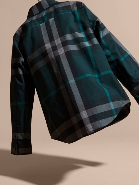 Racing green Check Cotton Button-Down Shirt Racing Green - cell image 3