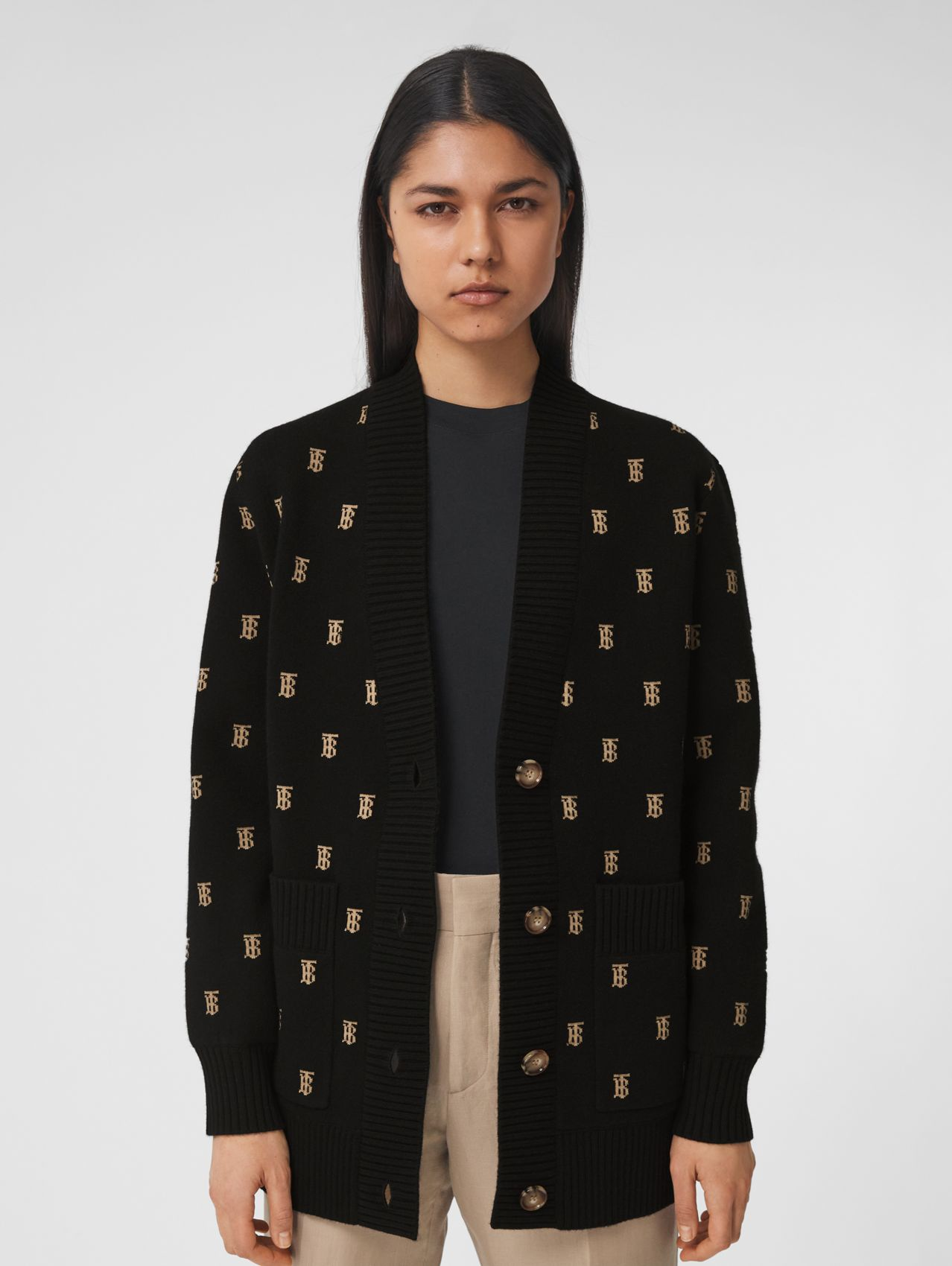 Monogram Wool Cashmere Blend Oversized Cardigan in Black