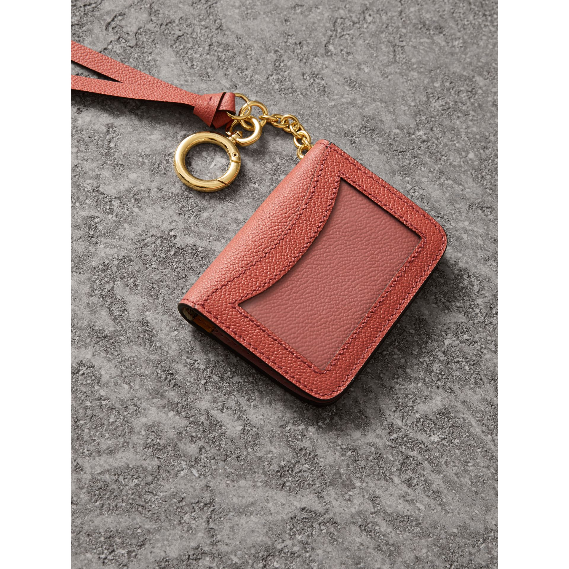 Leather and Haymarket Check ID Card Case Charm in Cinnamon Red/multi - Women | Burberry United Kingdom - gallery image 3