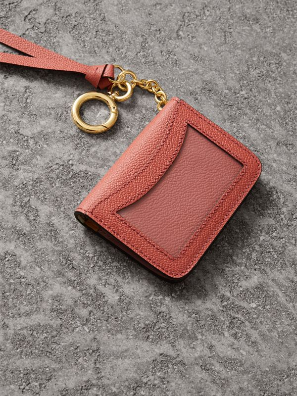 Leather and Haymarket Check ID Card Case Charm in Cinnamon Red/multi - Women | Burberry - cell image 2