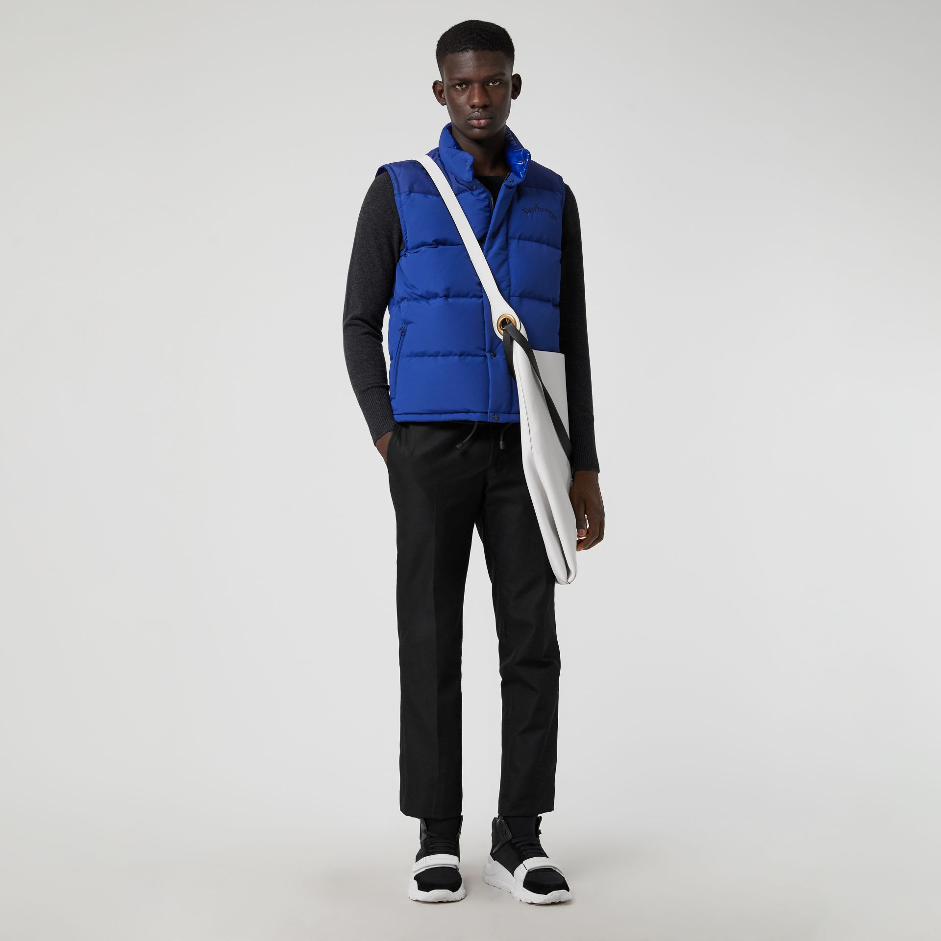 Embroidered Archive Logo Down-filled Gilet in Bright Blue - Men | Burberry United States - gallery image 0