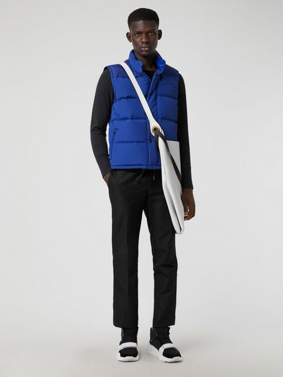 Embroidered Archive Logo Down-filled Gilet in Bright Blue