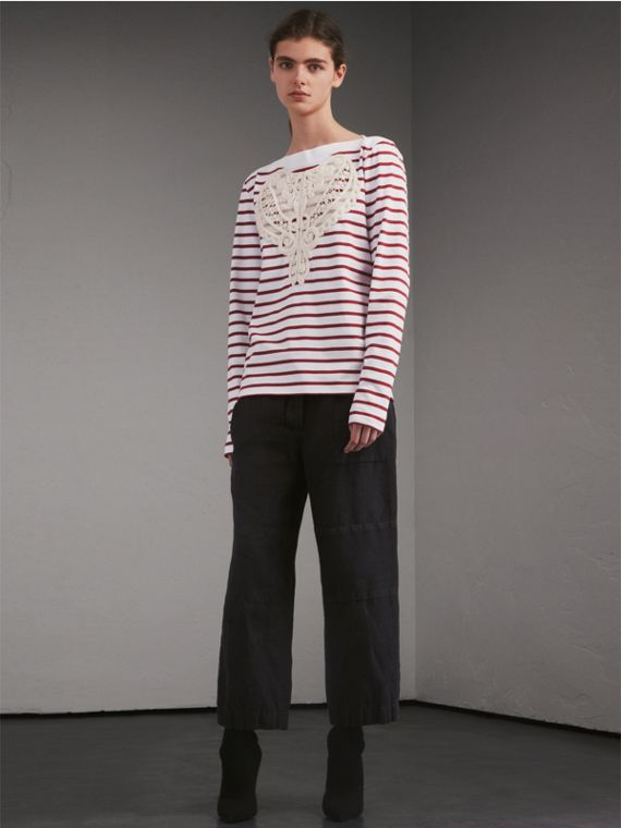 Unisex Breton Stripe Cotton Top with Lace Appliqué - Men | Burberry Singapore - cell image 2