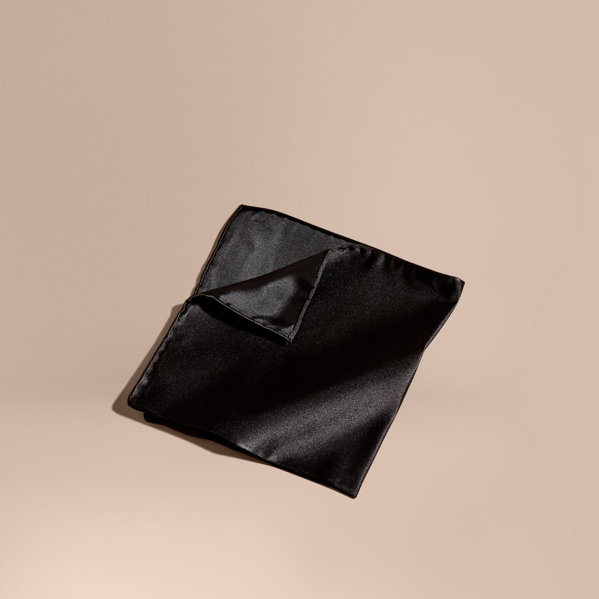 Black Silk Pocket Square Black - gallery image 1