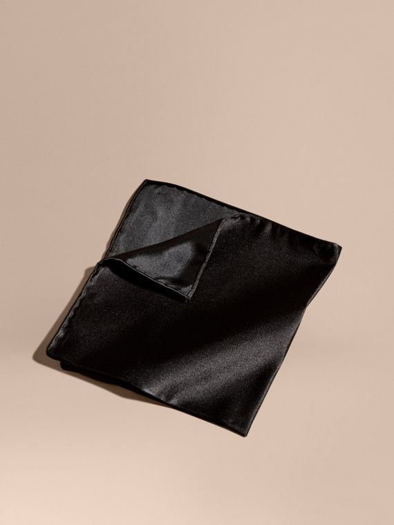 Silk Pocket Square in Black - Men | Burberry Canada