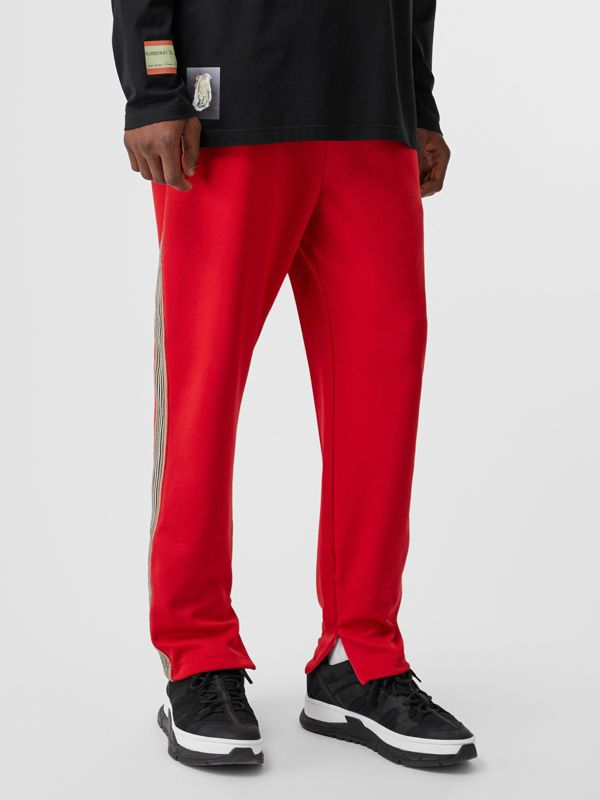 Icon Stripe Detail Jersey Trackpants in Bright Red - Men | Burberry Singapore - cell image 3
