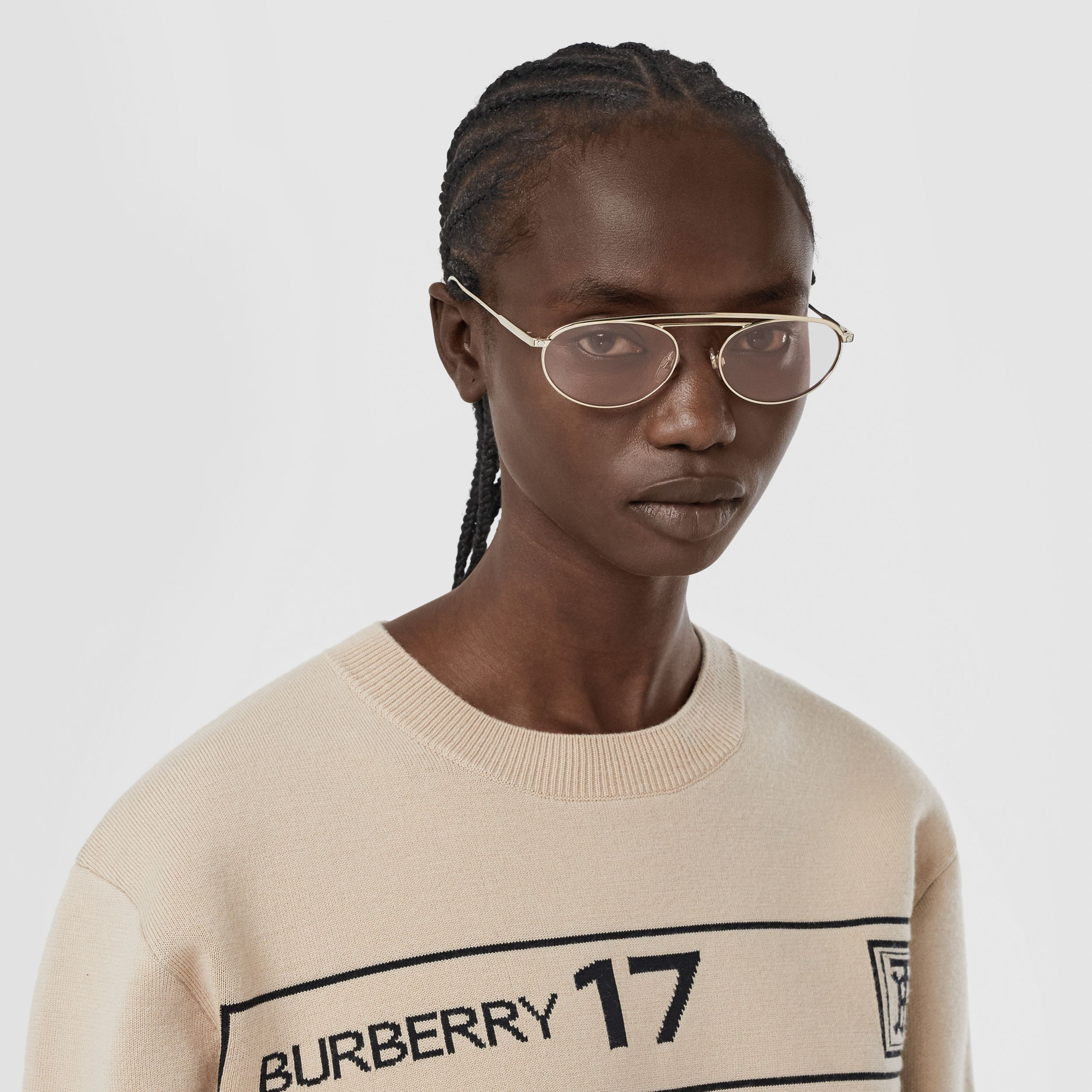 Oval Frame Sunglasses in Light Pink | Burberry - 3