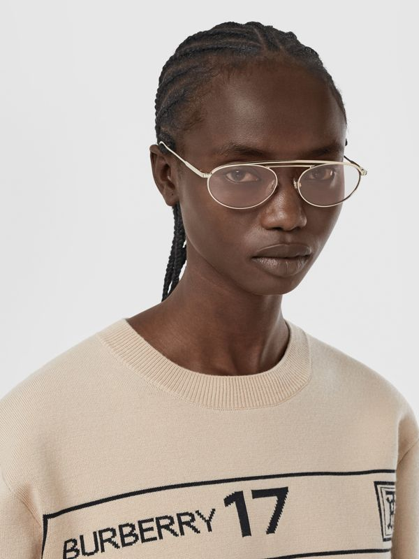 Oval Frame Sunglasses in Light Pink - Women | Burberry - cell image 2