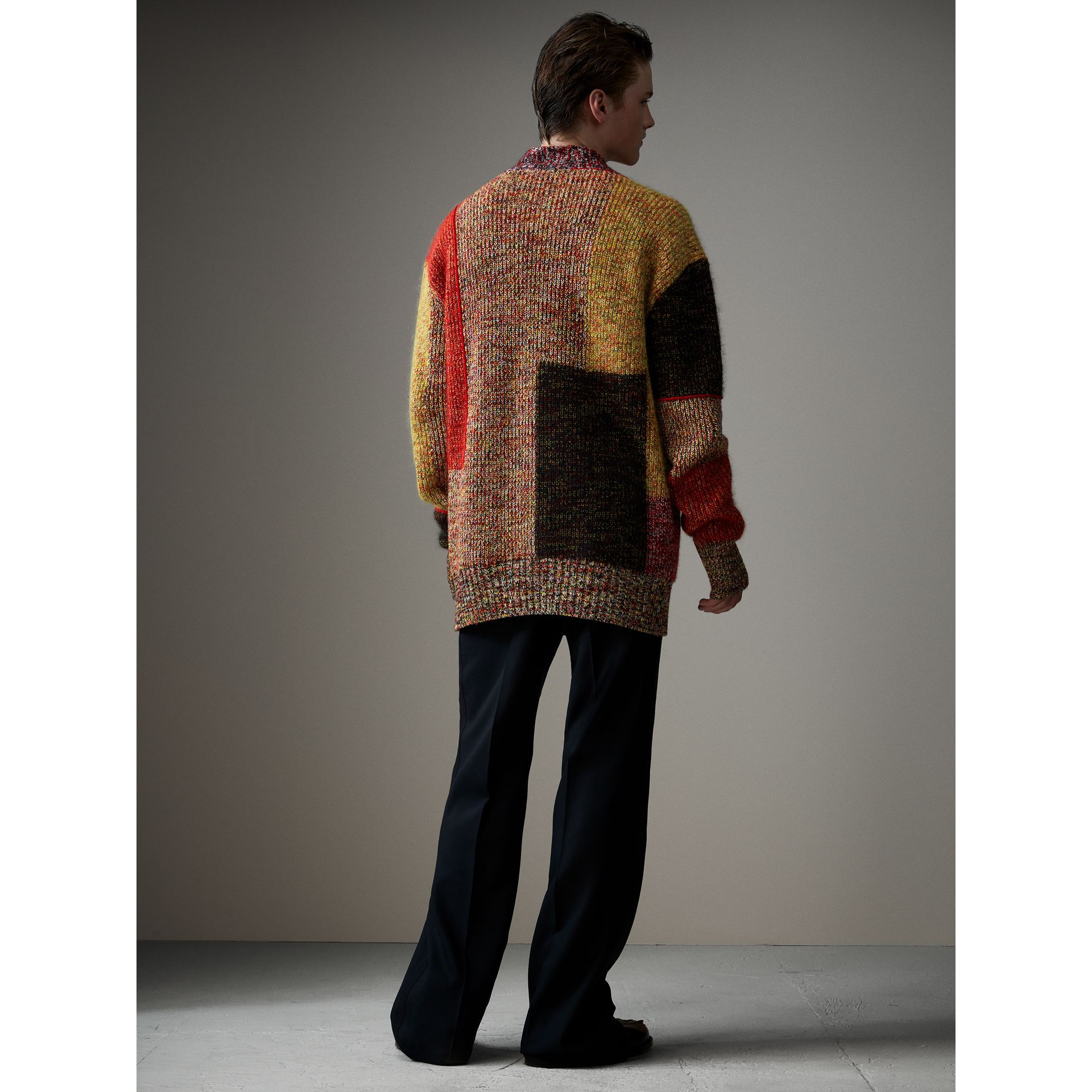 Wool Linen Mohair Blend Mouliné Oversized Cardigan in Multicolour - Men | Burberry United Kingdom - gallery image 2