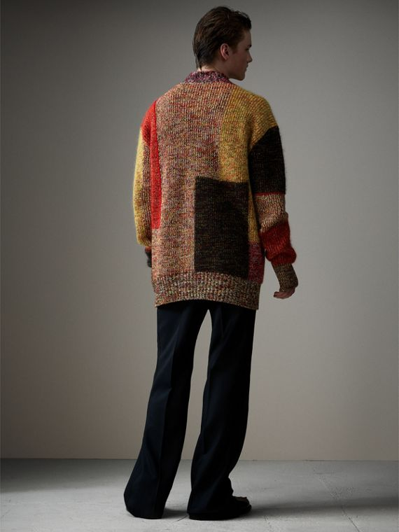 Wool Linen Mohair Blend Mouliné Oversized Cardigan in Multicolour - Men | Burberry United Kingdom - cell image 2