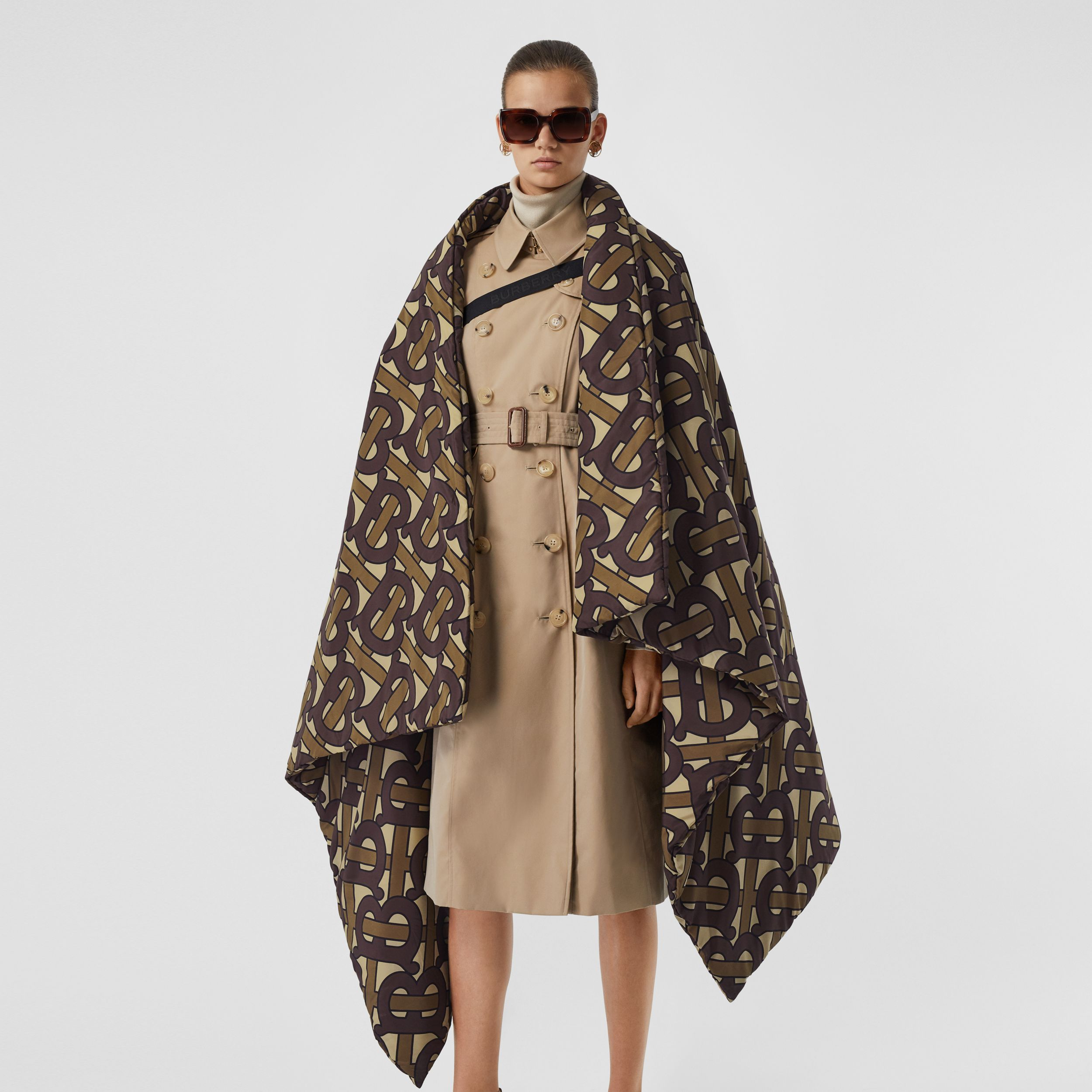 Monogram Print Oversized Puffer Cape in Bridle Brown | Burberry Australia - 4