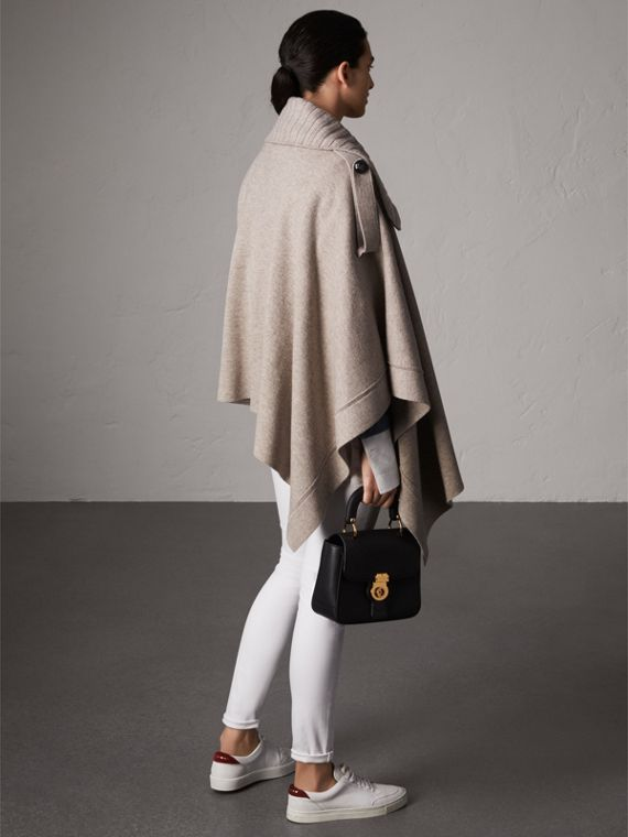 Rib Knit Collar Wool Cashmere Blend Poncho in Camel - Women | Burberry - cell image 2