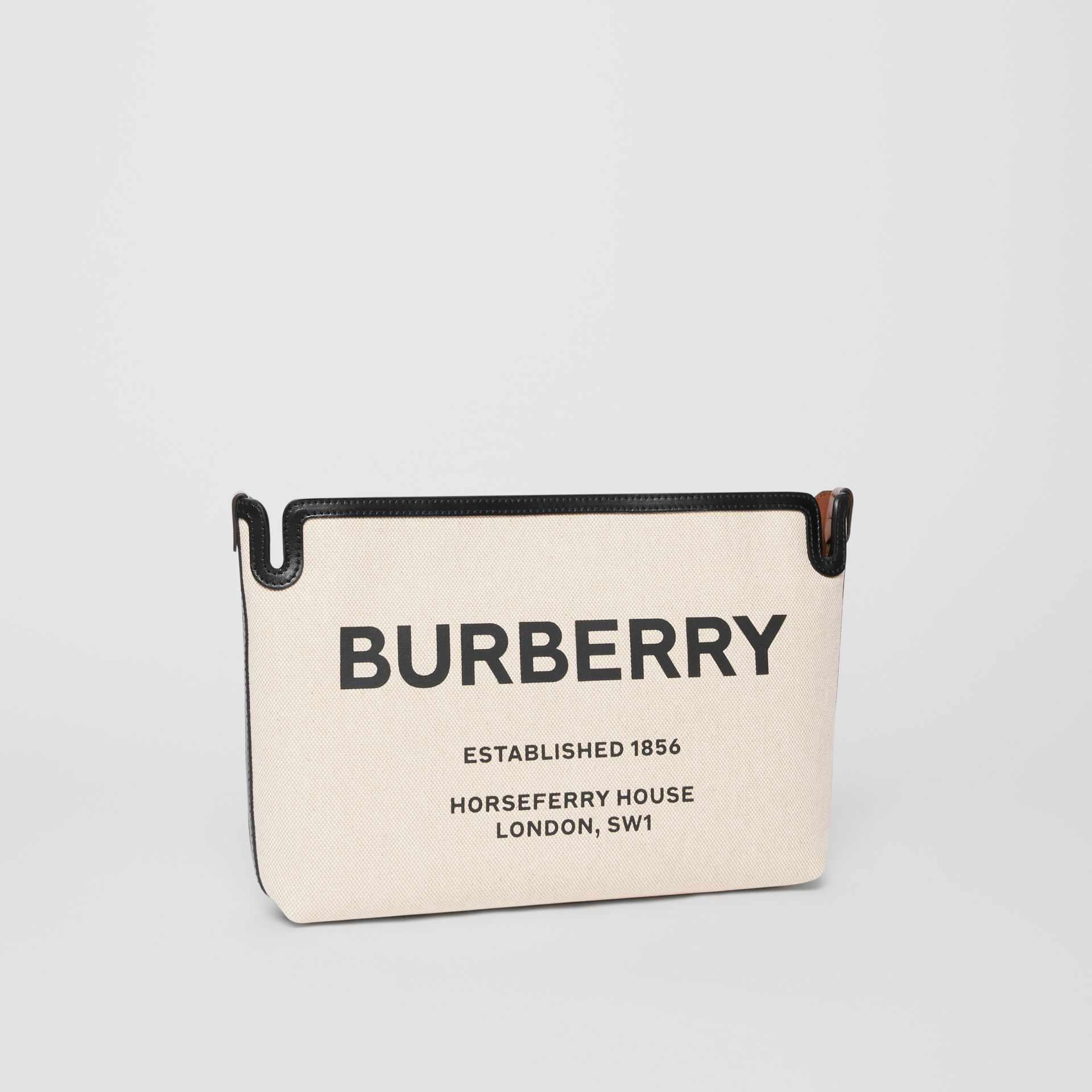 Medium Horseferry Print Canvas Clutch in Malt Brown/black - Women | Burberry - gallery image 6