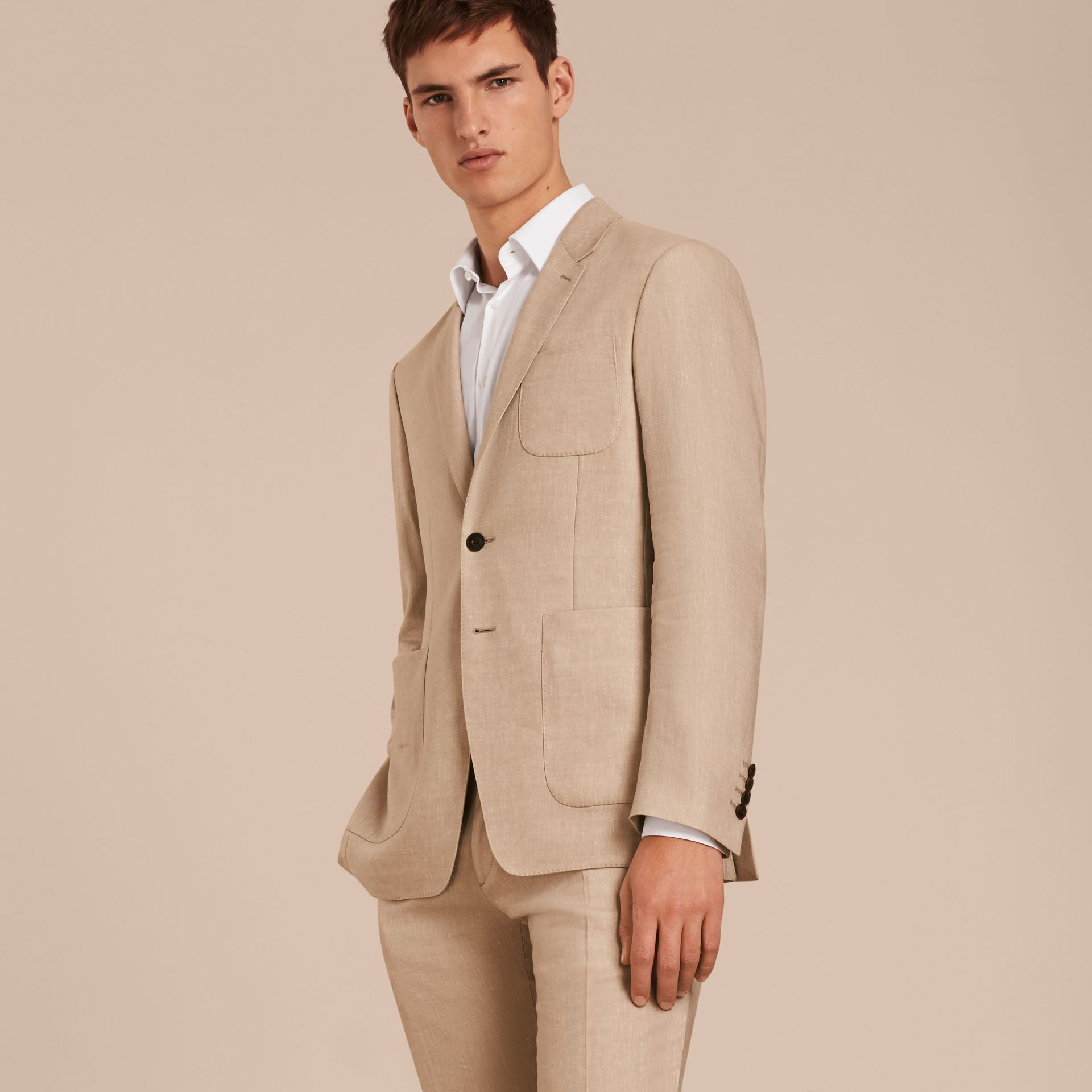 Modern Fit Travel Tailoring Linen Cashmere Wool Suit - Men | Burberry - gallery image 8