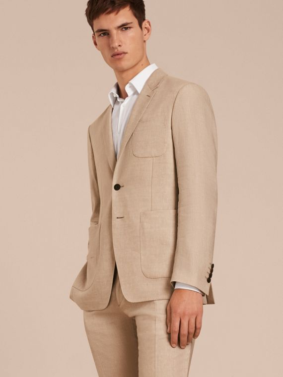 Modern Fit Travel Tailoring Linen Cashmere Wool Suit