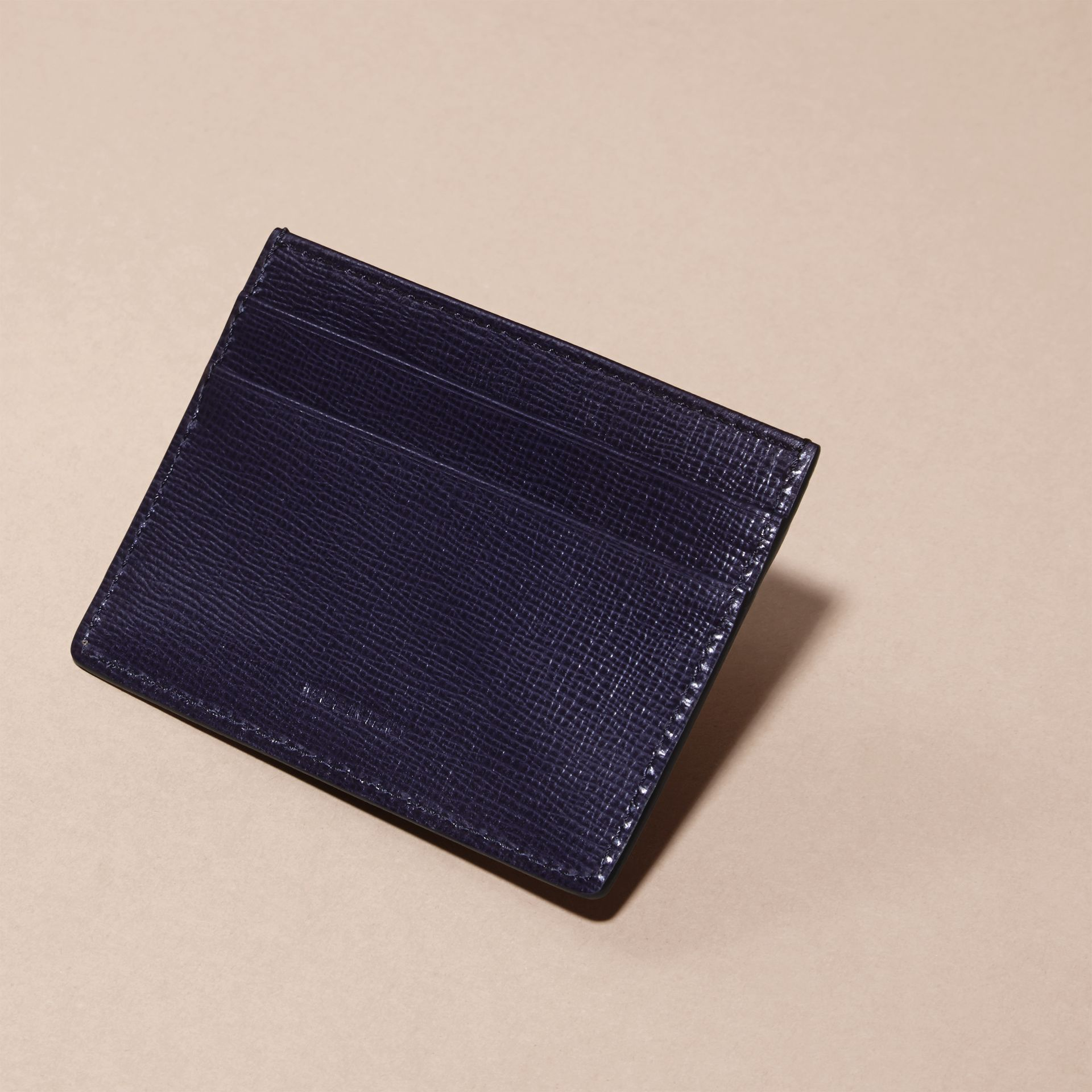 London Leather Card Case in Dark Navy - Men | Burberry - gallery image 4