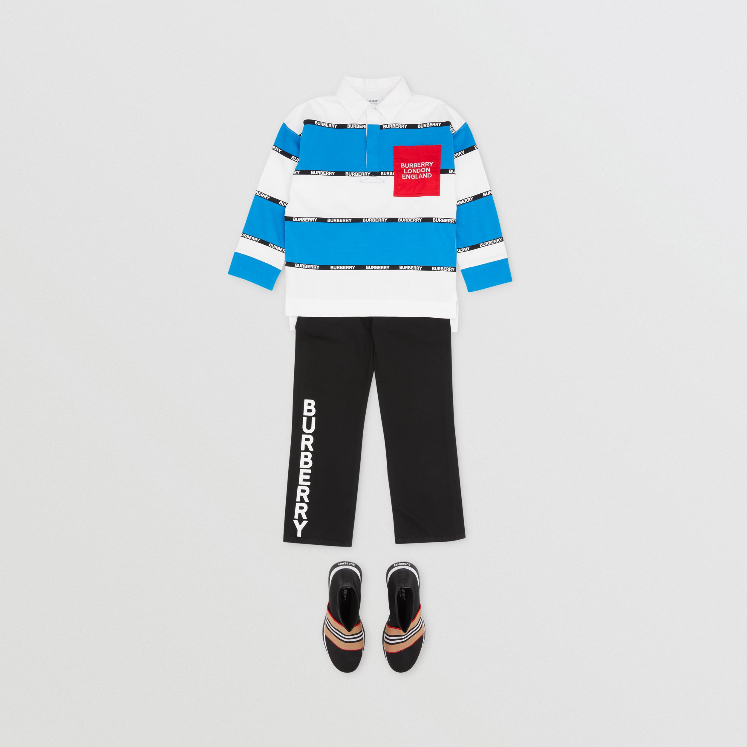 Long-sleeve Logo Tape Striped Cotton Polo Shirt | Burberry - 3