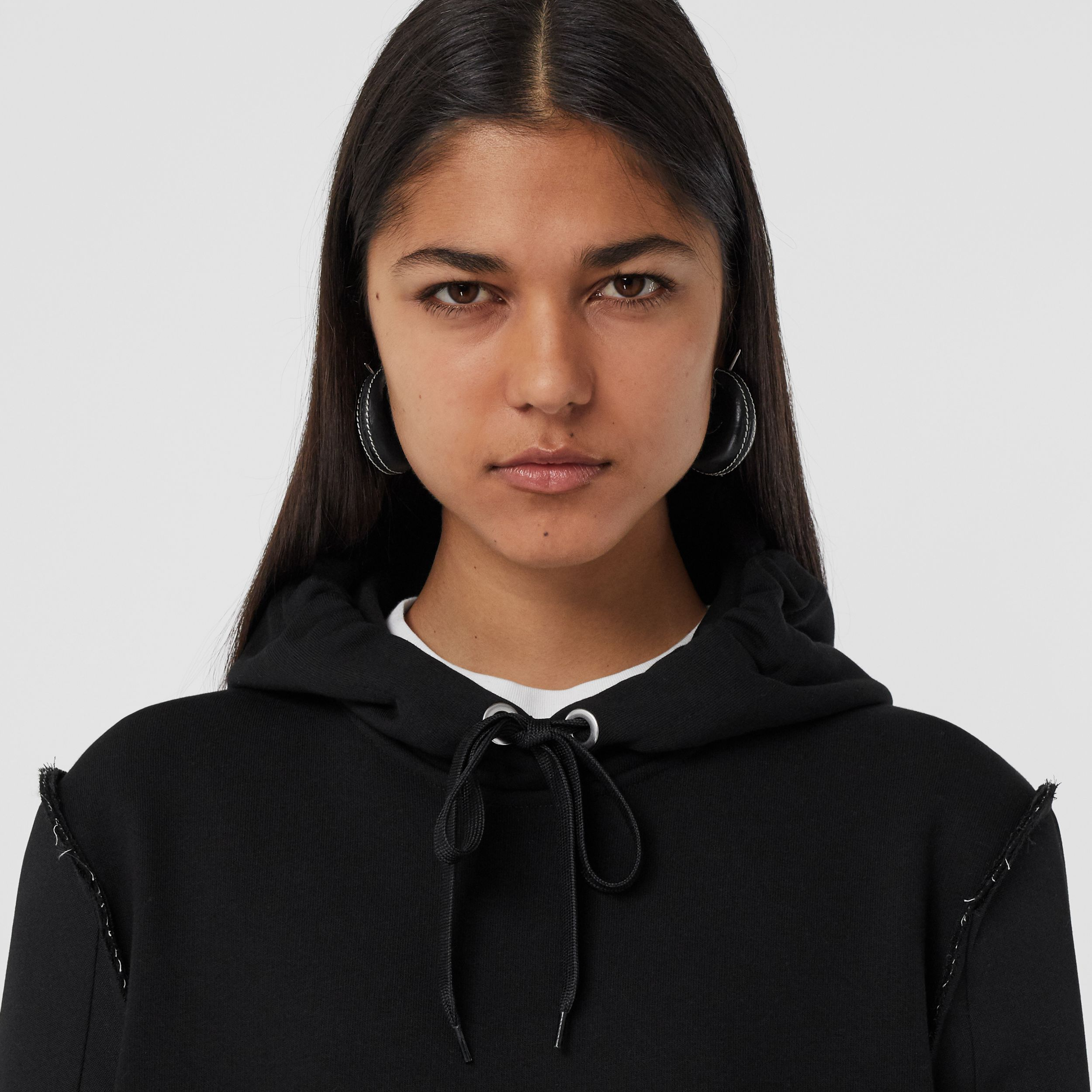 Cotton and Wool Reconstructed Oversized Hoodie in Black - Women | Burberry - 2