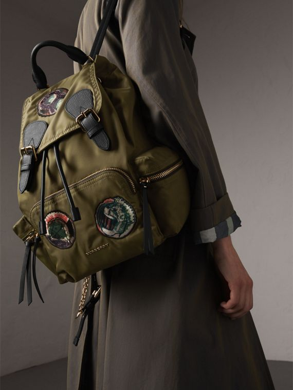 The Medium Rucksack in Technical Nylon with Pallas Heads Appliqué in Canvas Green - cell image 2