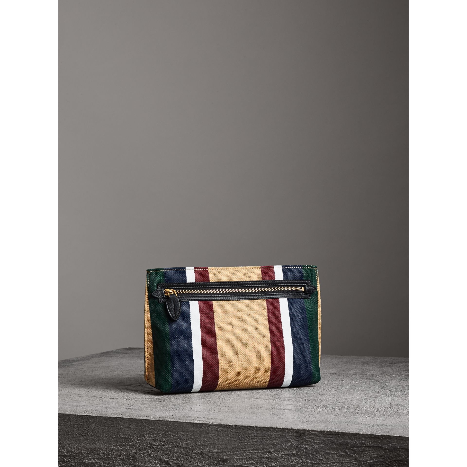 Striped Jute Wristlet Clutch in Black - Women | Burberry - gallery image 7