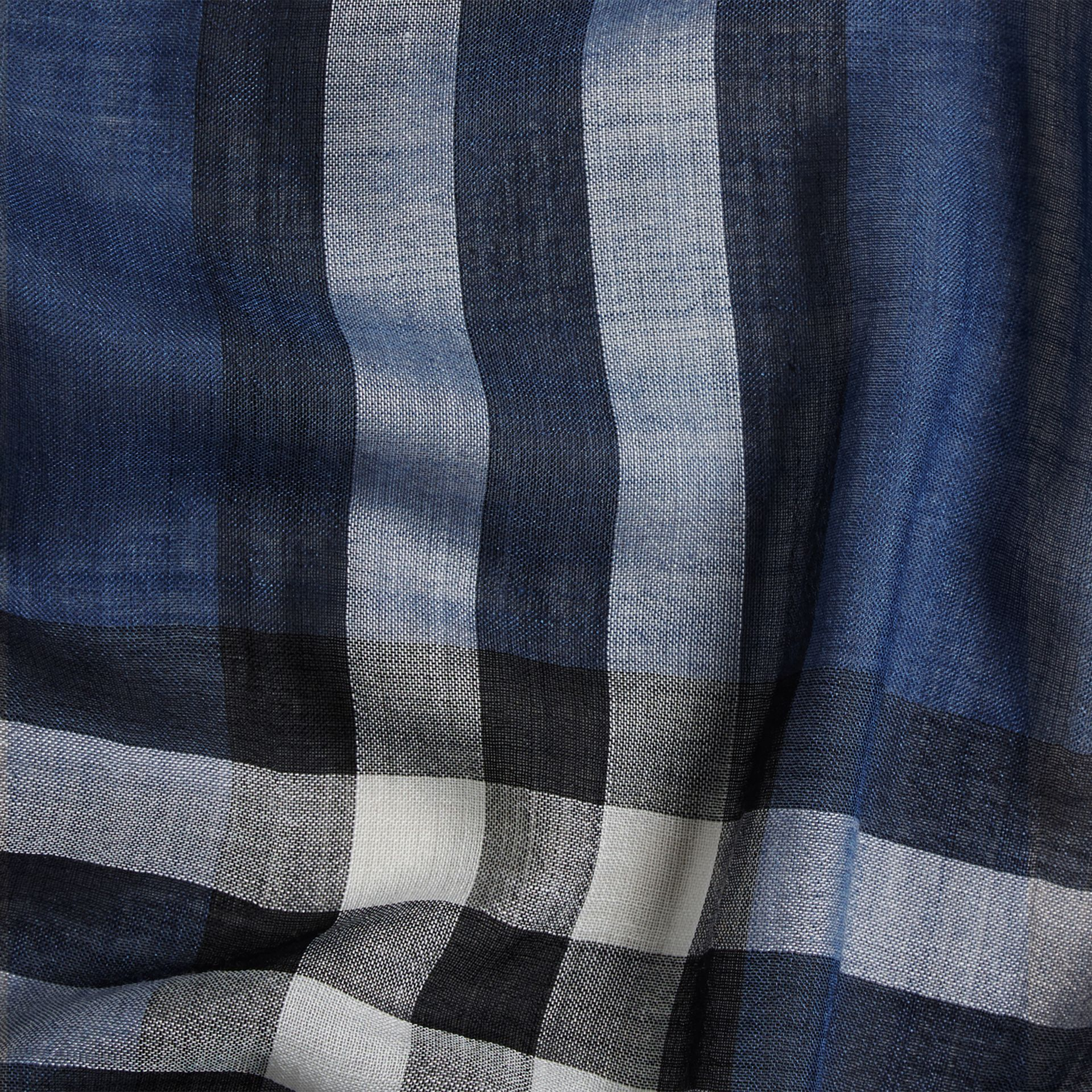 Cadet blue Lightweight Check Wool and Silk Scarf Cadet Blue - gallery image 2