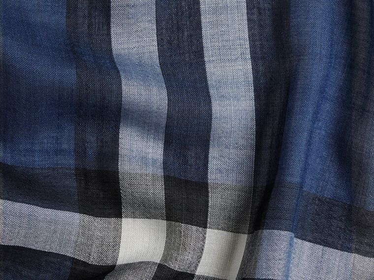 Cadet blue Lightweight Check Wool and Silk Scarf Cadet Blue - cell image 1