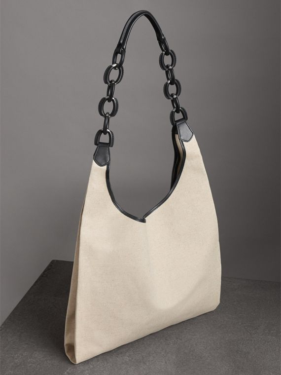 Medium Archive Logo Canvas and Leather Shopper in Black - Women | Burberry Canada - cell image 2