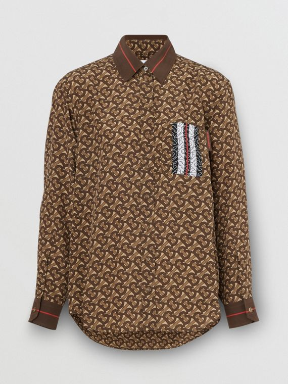 Monogram Stripe Print Silk Oversized Shirt in Bridle Brown