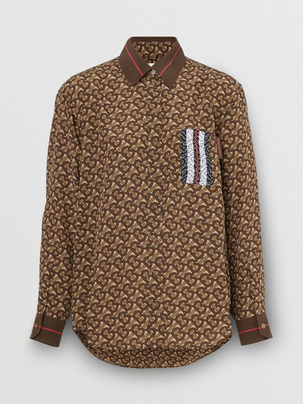 Monogram Stripe Print Silk Oversized Shirt in Bridle Brown - Women | Burberry - cell image 3