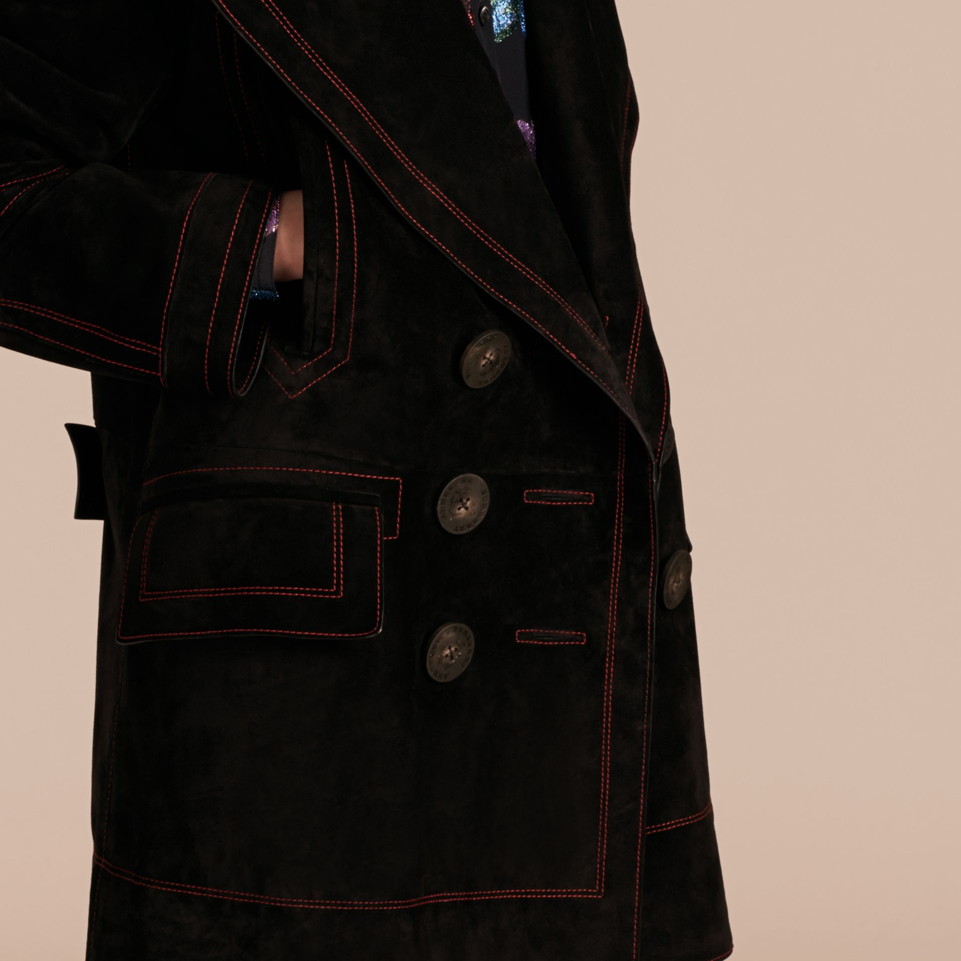 Black Suede Pea Coat with Shearling Topcollar - gallery image 6