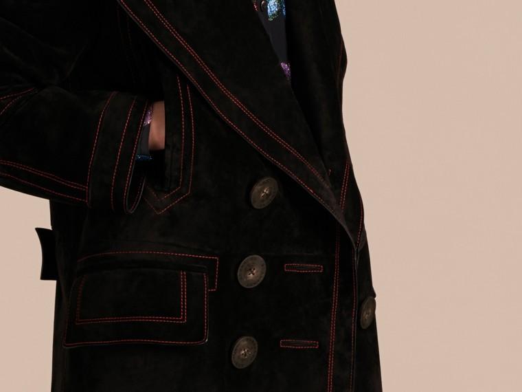 Nero Pea coat in pelle scamosciata con sopracollo in shearling - cell image 4