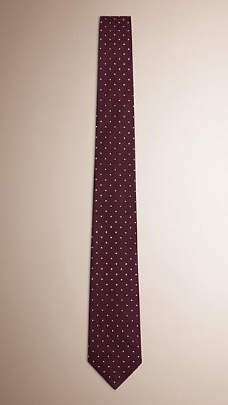 Cravate moderne en sergé de soie à pois