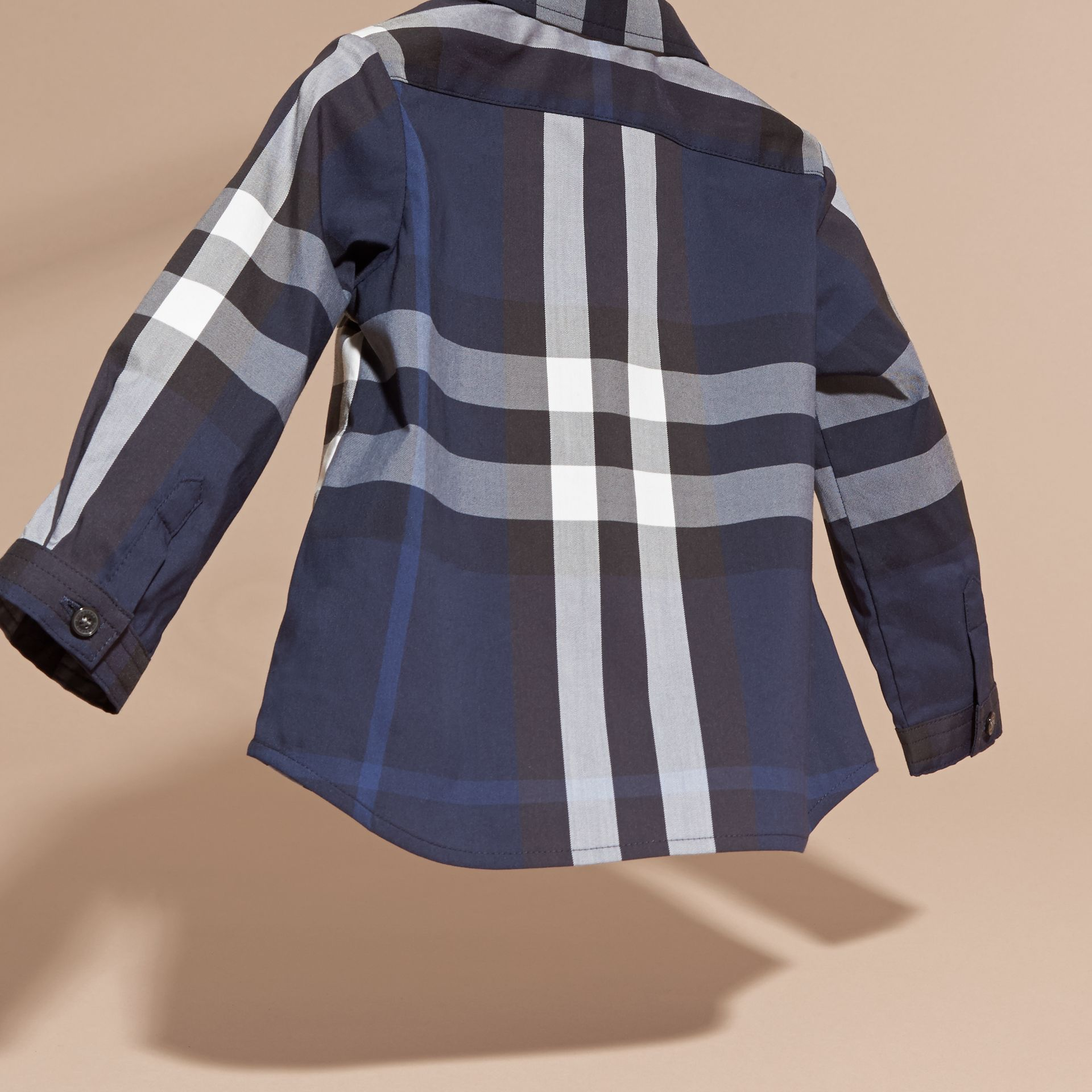 Indigo blue Check Button-Down Cotton Shirt Indigo Blue - gallery image 4