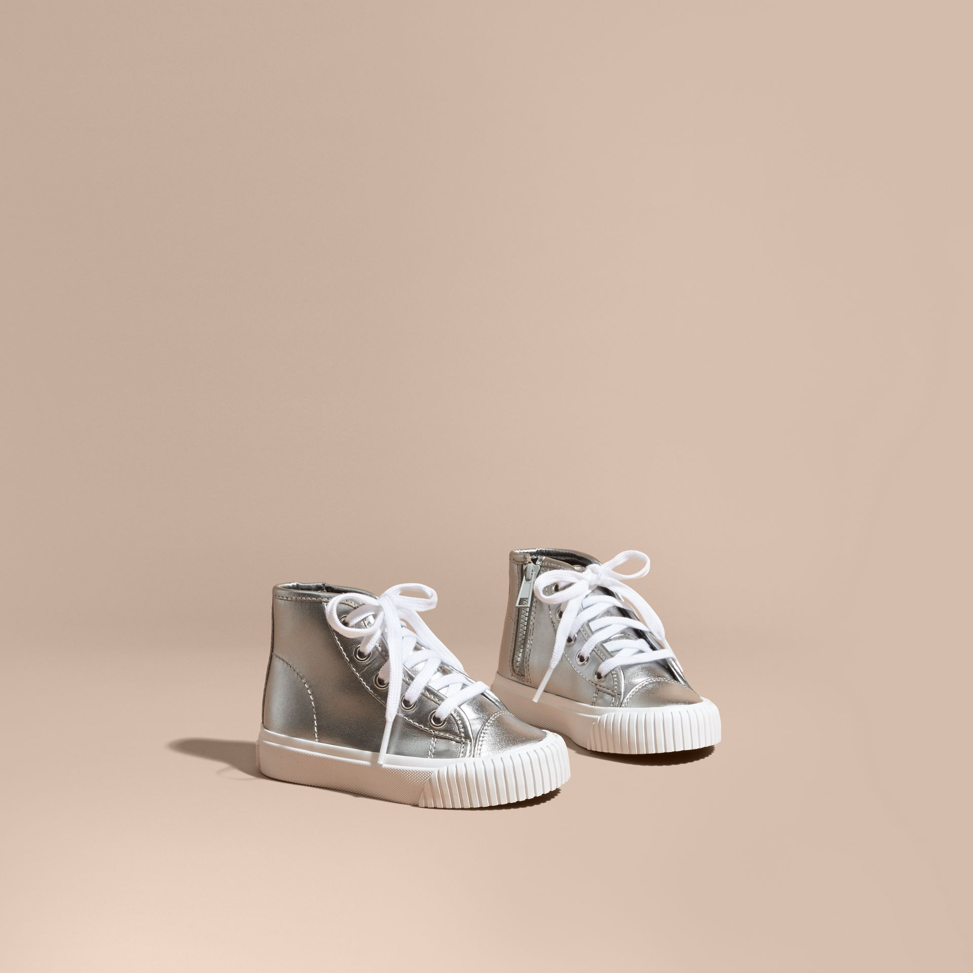 Silver Metallic Leather High-top Trainers - gallery image 1