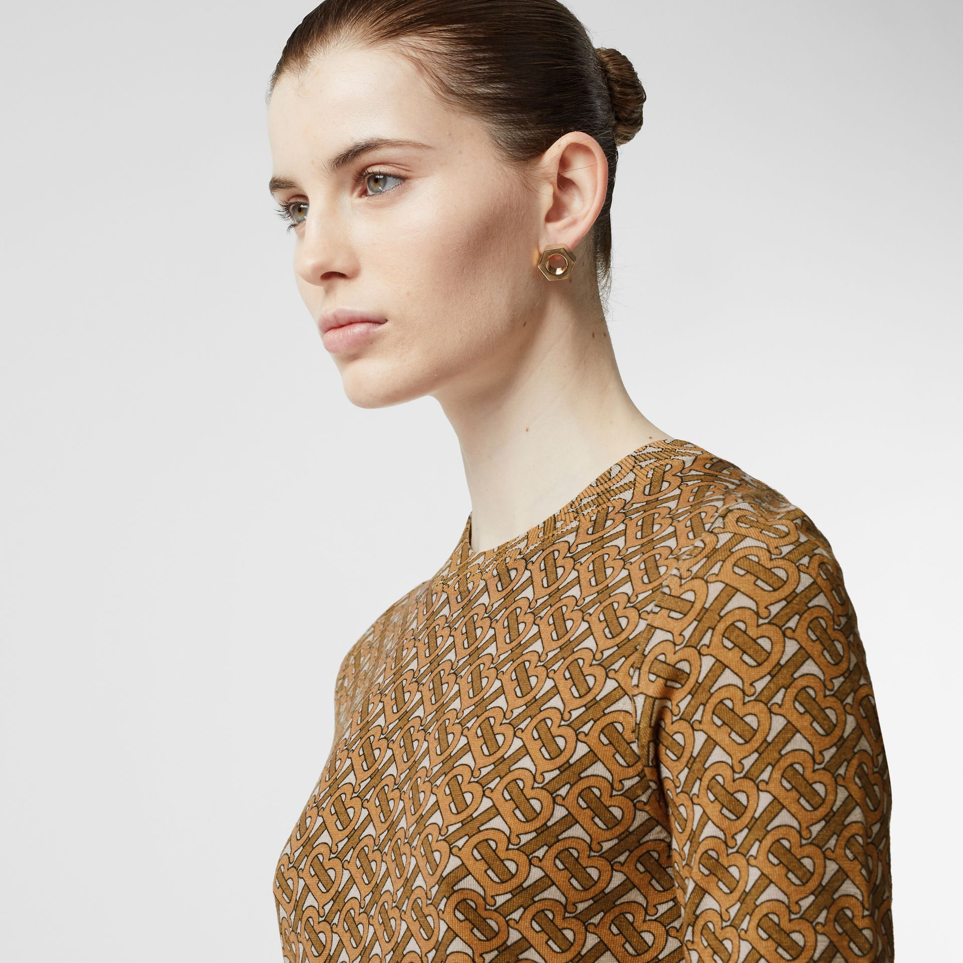Monogram Print Merino Wool Top in Beige - Women | Burberry Australia - gallery image 1